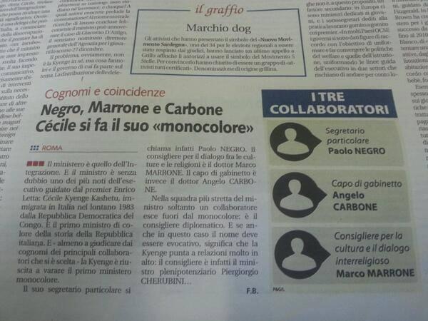 """Negro, Marrone e Carbone nello staff Kyenge. Libero: """"Ministero monocolore"""""""