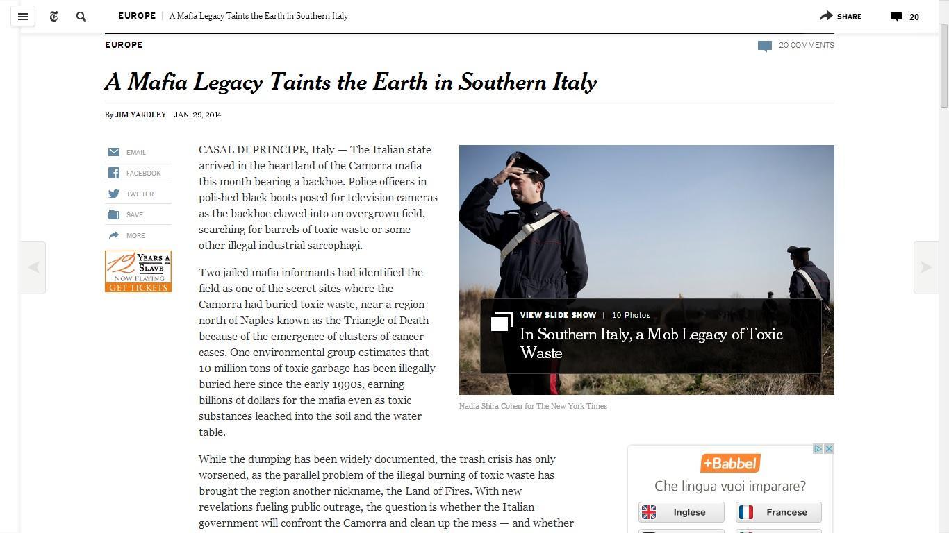 Terra dei Fuochi in prima pagina sul New York Times