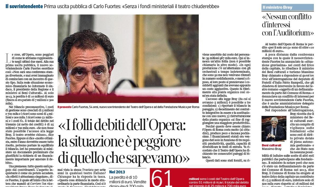 """Teatro dell'Opera di Roma, Carlo Fuortes: """"Debiti? Peggio di quanto sapevamo"""""""