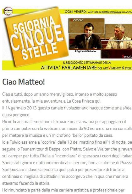 Beppe Grillo, dj Matteo Ponzano lascia La Cosa