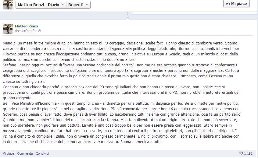 Il post di Renzi su Facebook