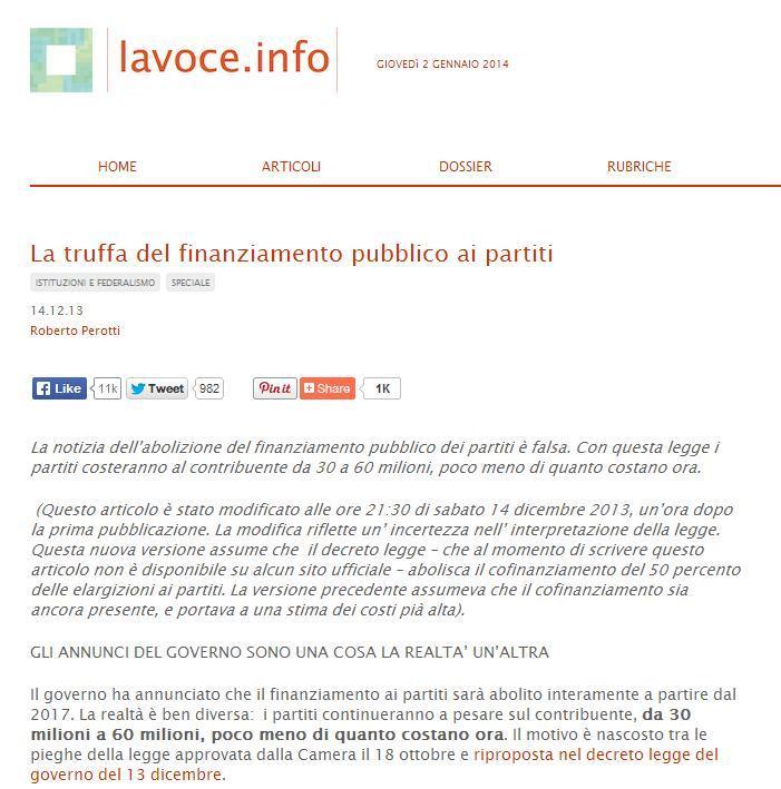 Perotti (lavoce.info): Finanziamento ai partiti abolito? No: solo diminuito un po'