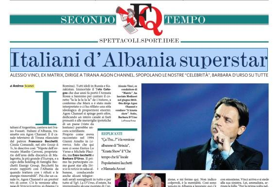 """Andrea Scanzi sul Fatto Quotidiano: """"Italiani d'Albania superstar"""""""