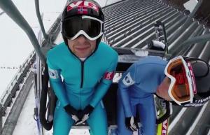 """Il """"selfie"""" dello sciatore ripreso con la GoPro"""
