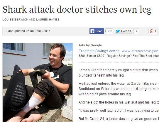 Attaccato da uno squalo, si beve una birra prima di andare in ospedale