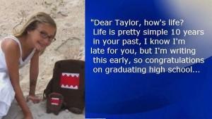 Taylor Smith, 12 anni, scrive una lettera a se stessa adulta e poi muore