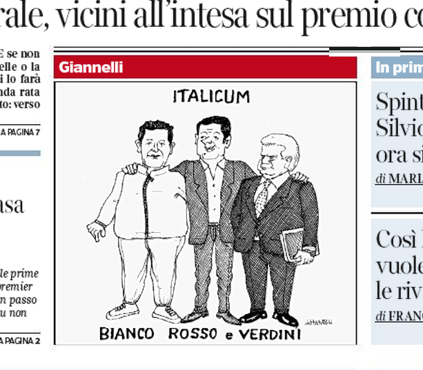 Renzi in mezzo tra Toti e Denis Verdini trionfatore Italicum: Giannelli disegna