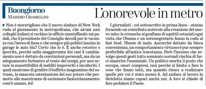 """Massimo Gramellini, Buongiorno sulla Stampa: """"L'onorevole in metro"""""""