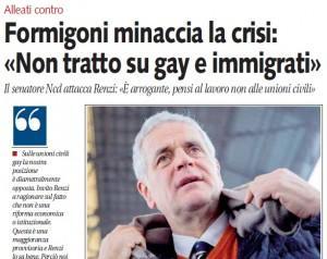 """Roberto Formigoni (Ncd): """"Non tratto su gay e immigrati"""""""