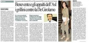 """Repubblica: """"Benevento e gli appalti dell'Asl. I grillini contro la De Girolamo"""""""