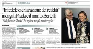 """Repubblica: """"Indagati Prada e il marito Bertelli, infedele dichiarazione redditi"""""""