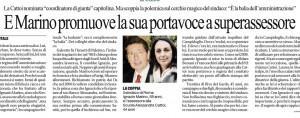 """Repubblica: """"E Marino promuove la sua portavoce a superassessore"""""""
