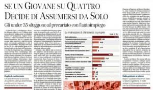 """Corriere della Sera: """"Se un giovane su quattro decide di assumersi da solo"""""""