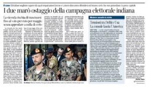 """Corriere della Sera: """"I due marò ostaggio della campagna elettorale indiana"""""""