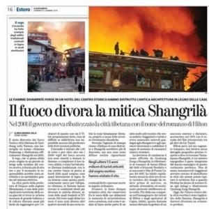 Il fuoco divora la mitica Shangrilà, Ilaria Maria Sala sulla Stampa