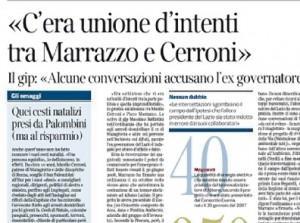 """Corriere della Sera: """"C'era unione d'intenti tra Marrazzo e Cerroni"""""""