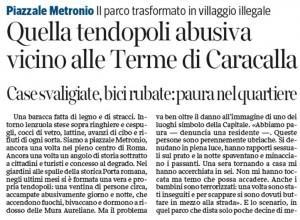 Quella tendopoli abusiva vicino alle Terme di Caracalla, Flavia Scicchitano sul Corriere della Sera