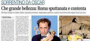 """La Grande bellezza, Libero: """"Roma applaude la vittoria del film che la sputtana"""""""