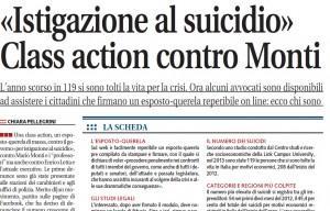 """Libero: """"Istigazione al suicidio. Class action contro Monti"""""""