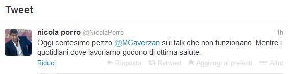 Il tweet di Nicola Porro