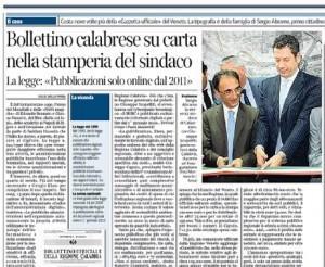 Bollettino calabrese su carta nella stamperia del sindaco, Gian Antonio Stella sul Corriere della Sera