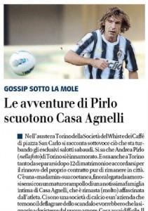 """Il Giornale: """"Le avventure di Pirlo scuotono casa Agnelli"""""""