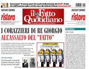 """Marco Travaglio sul Fatto Quotidiano: """"Piranitano"""""""