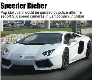 Justin Bieber e la sua Lamborghini