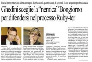 """Ghedini sceglie la """"nemica"""" Bongiorno per difendersi nel processo Ruby-ter"""