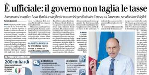 """Il Giornale: """"È ufficiale: il governo non taglia le tasse"""""""
