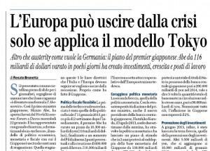 """Brunetta: """"L'Europa può uscire dalla crisi solo se applica il modello Tokyo"""""""