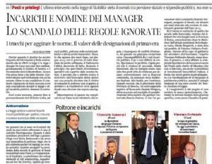 Incarichi e nomine dei manager. Lo scandalo delle regole ignorate. Sergio Rizzo sul Corriere della Sera