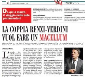 """Legge elettorale, il Fatto Quotidiano: """"La coppia Renzi-Verdini vuol fare un macellum"""""""