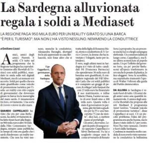 """Il Fatto Quotidiano: """"La Sardegna (alluvionata) regala i soldi a Mediaset"""""""