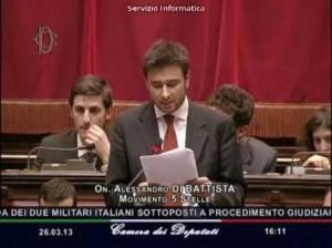 Alessandro Di Battista e il caso Marò: l'intervento alla Camera del 26 marzo 2013 (video)