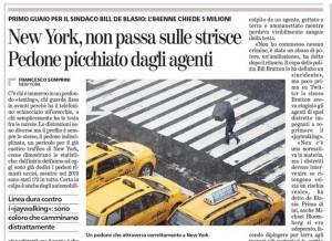 New York, non attraversa sulle strisce. Pedone picchiato dagli agenti