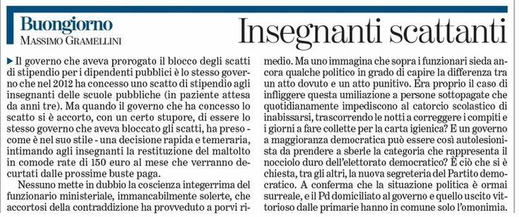 """Massimo Gramellini, Buongiorno sulla Stampa: """"Insegnanti scattanti"""""""