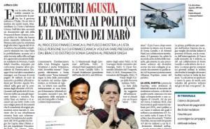 Elicotteri Augusta, le tangenti ai politici e destino dei marò, Lillo sul Fatto Quotidiano