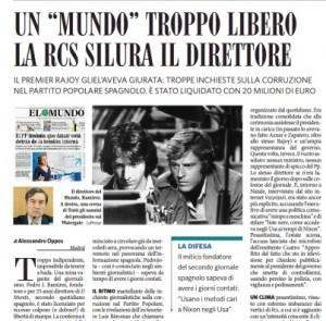 El Mundo, Rcs silura il direttore Pedro J. Ramírez dopo le inchieste su Rajoy