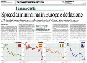 Spread ai minimi ma in Europa è deflazione, Elena Polidori su Repubblica