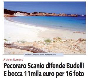"""Libero: """"Pecoraro Scanio difende Budelli. E becca 11mila euro per 16 foto"""""""