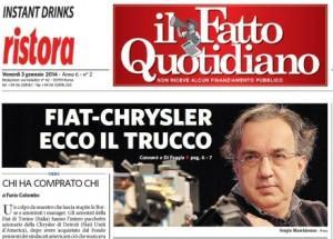 """""""Fiat-Chrysler, ecco il trucco"""", la prima pagina del Fatto Quotidiano"""