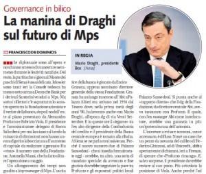 """Libero: """"La manina di Draghi sul futuro di Mps"""""""