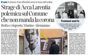 """Corriere della Sera: """"Strage di Acca Larentia polemica sul Comune"""""""