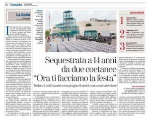 "La Stampa: ""Sequestrata a 14 anni da due coetanee a Torino"""