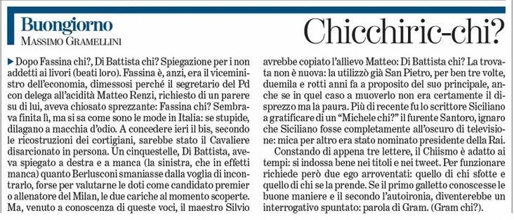 """Massimo Gramellini, Buongiorno sulla Stampa: """"Chicchiric-chi?"""""""