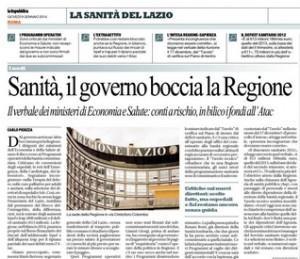 Sanità, il governo boccia la Regione Lazio