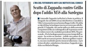 """Giornale: """"Zappadu contro Grillo dopo l'addio M5S alla Sardegna"""""""