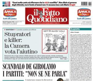 """Marco Travaglio sul Fatto Quotidiano: """"Scajoletta"""""""