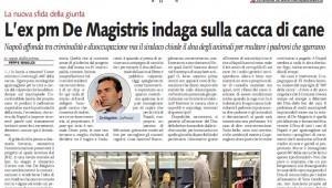 "Libero: ""De Magistris indaga sulla cacca di cane"""